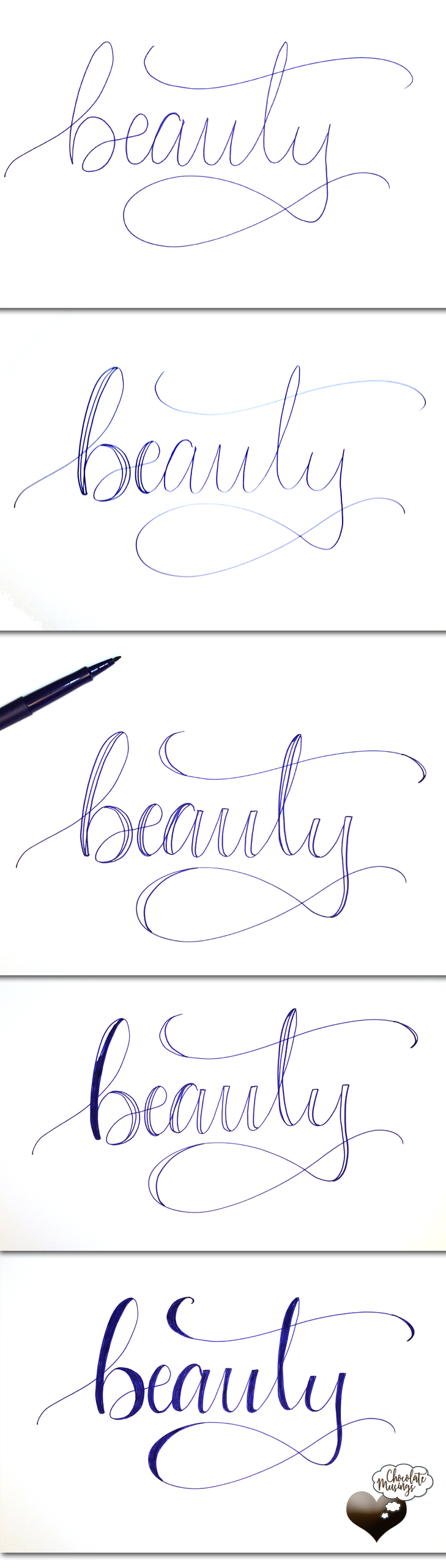 Faux Calligraphy, Modern Calligraphy, hand lettering, what ever it is called, there is a process and it is beautiful