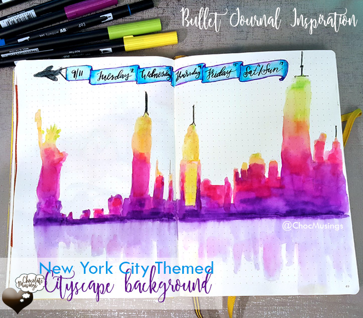 Colorful New York City building silhouette at sunrise and reflection | Bullet Journal Inspiration | Weekly Log