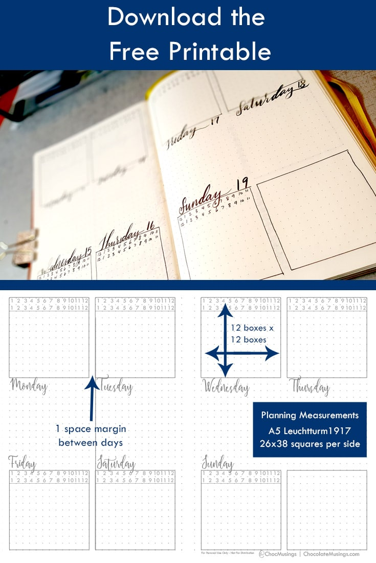 Measurements Guide Squared boxes for the month of November - Minimal Row Layout with mini time-blocking