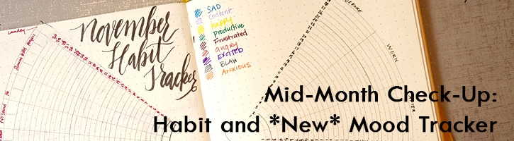 Habits and Moods mirror each other & provide daily insight, half-circled mirrored bullet journal layout