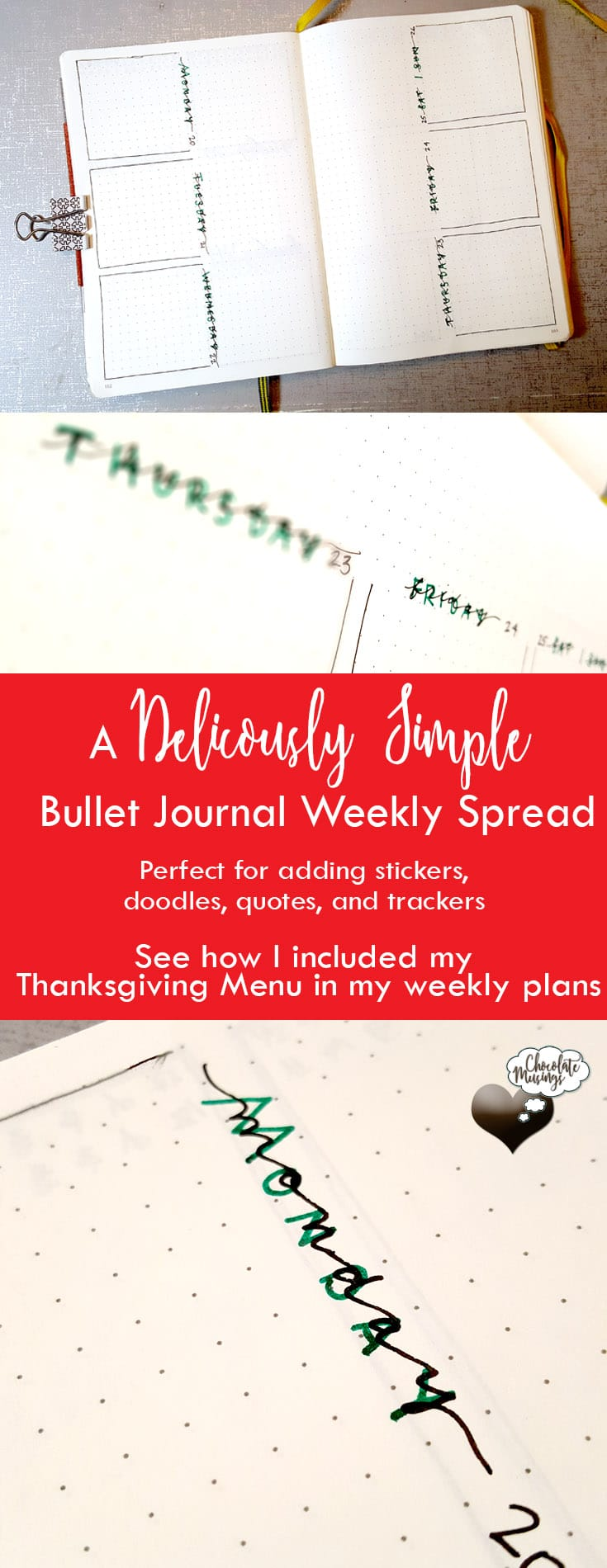A Deliciously Simple Weekly Bullet Journal Spread Vertical Open Squared Weekly Bullet Journal Planner Layout with large center margins