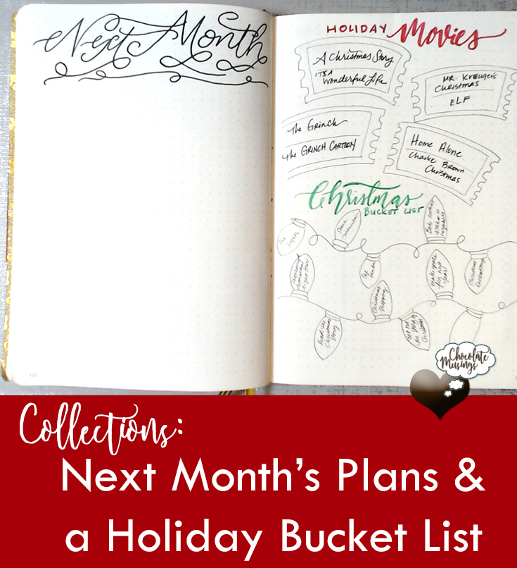 Holiday Bucket List and Great Planning Space for Next Month - Collections in my Bullet Journal