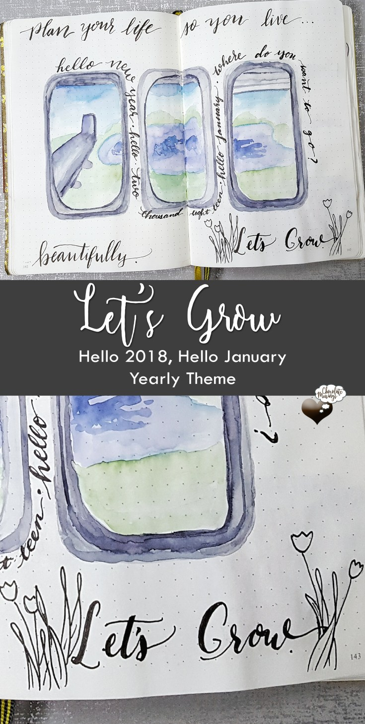 2018 Theme: Let's Grow - Welcome January, Hello 2018 Spread