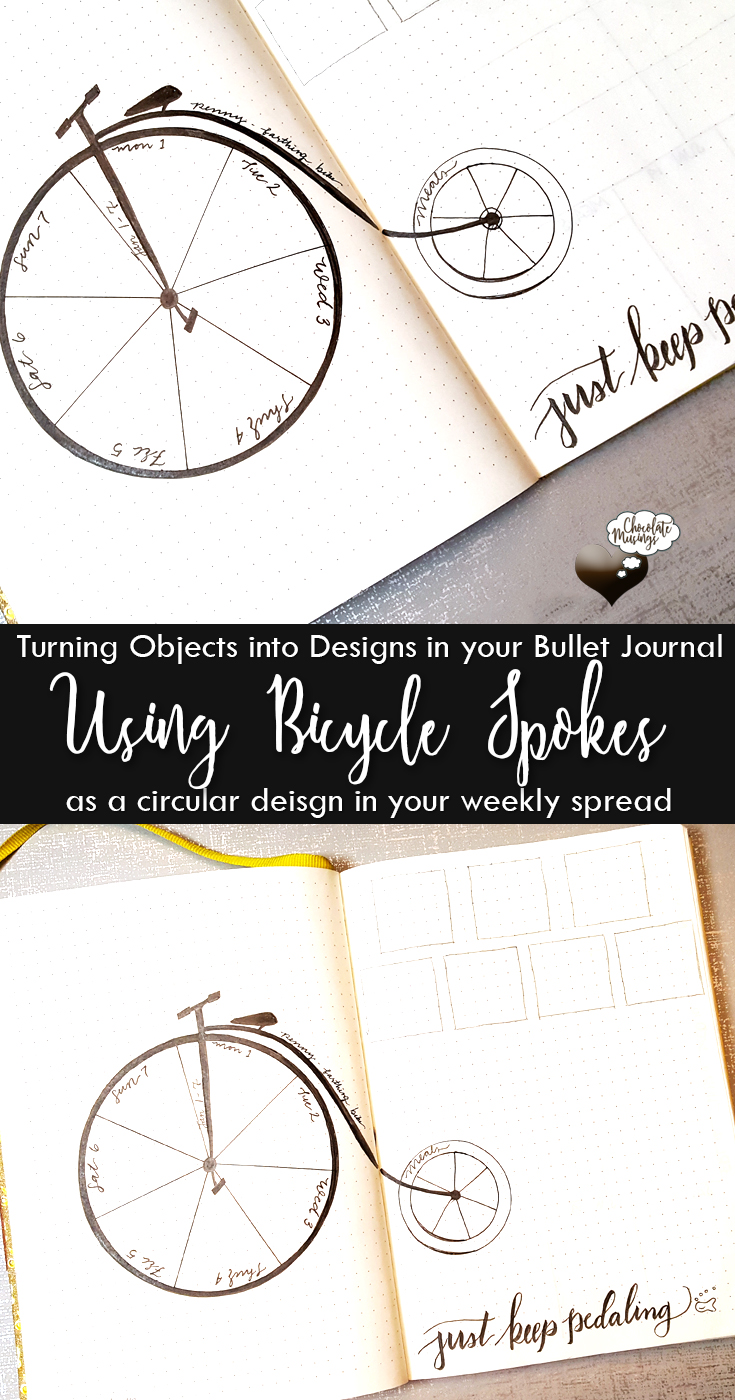 Bicycle Weekly: Turning objects into functional designs in your bullet journal: bicycle spokes for a weekly layout: