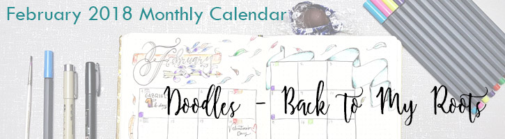 2018 February Monthly Calendar Doodles - Back to My Roots + process video