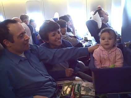 Clara\'s first time on an airplane -- San Francisco to Amsterdam