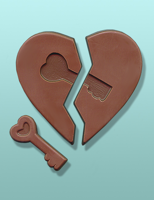 Chocolate Broken Heart with Key