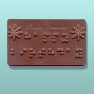 Happy Birthday Braille Chocolate Plaque