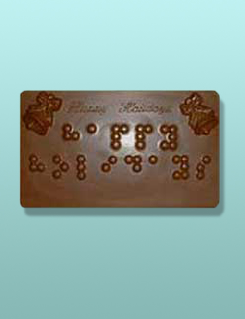 Happy Holidays Braille Chocolate Plaque