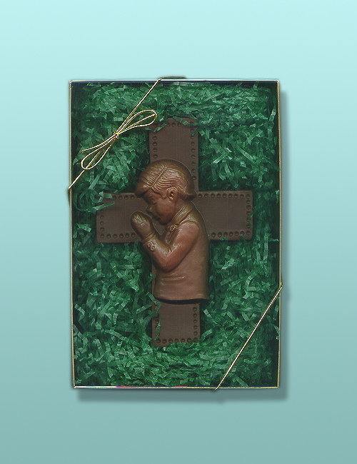 Praying Boy Chocolate Cross