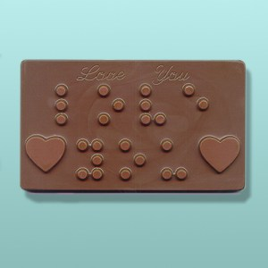 Chocolate Braille Love You Plaque