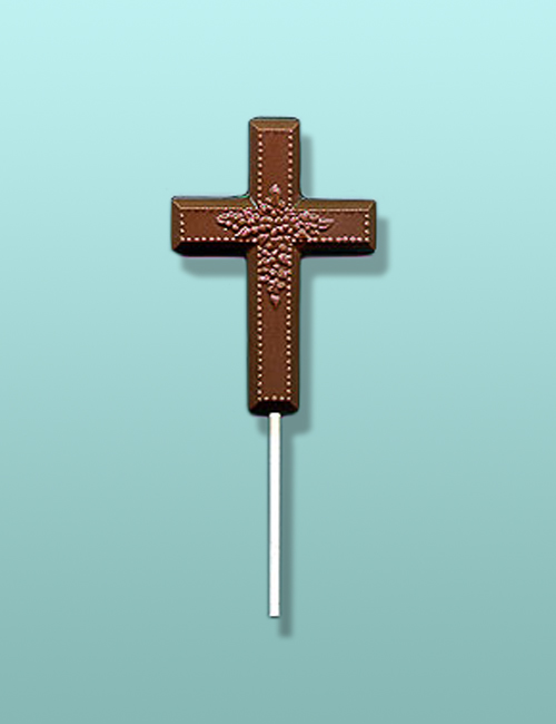 Floral Cross Chocolate Lolly