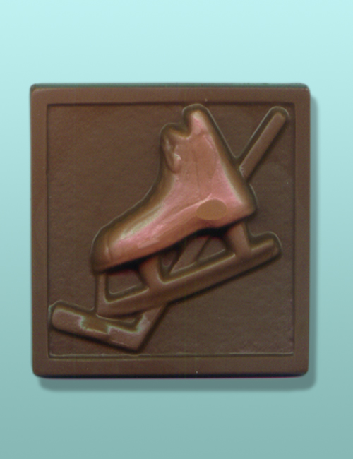 Hockey Skate and Stick Chocolate Plaque