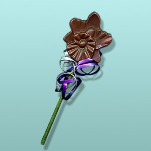 Chocolate Orchid Flower Stem Favor