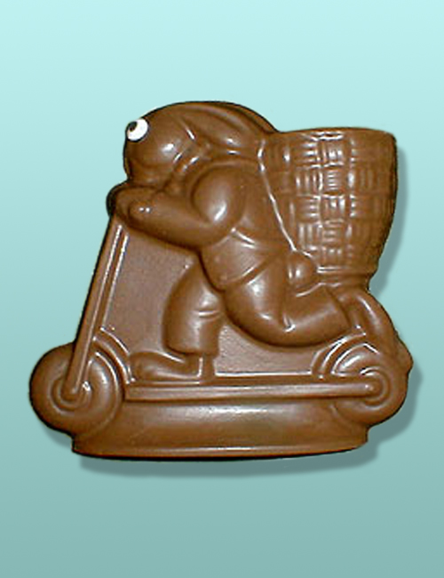 Chocolate Scooter Bunny Flat Plaque