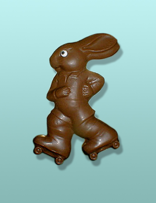 Chocolate Skater Bunny Flat Plaque