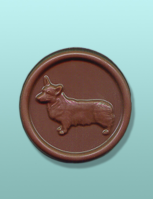 Chocolate Welsh Corgi Dog Medallion Favor