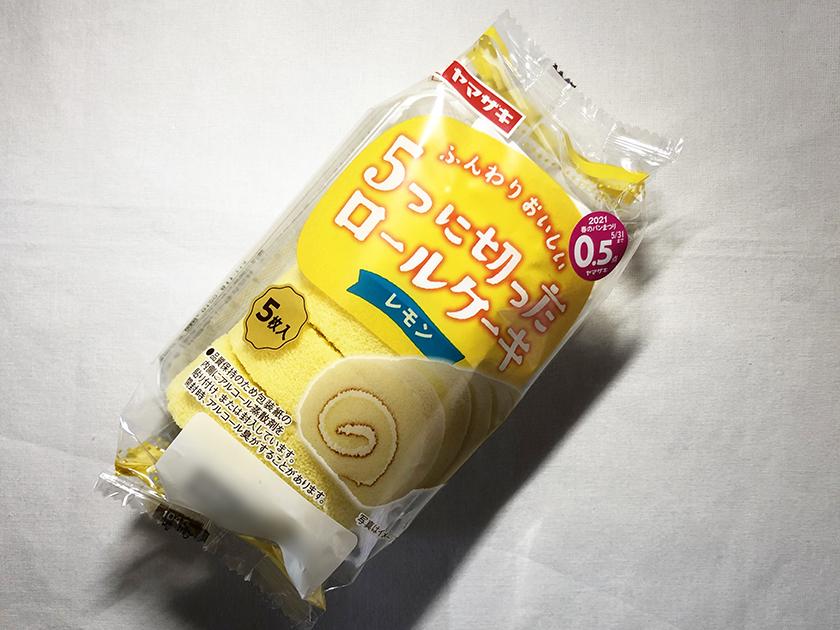 『ヤマザキ』の「5つに切ったロールケーキ レモン」のパッケージ