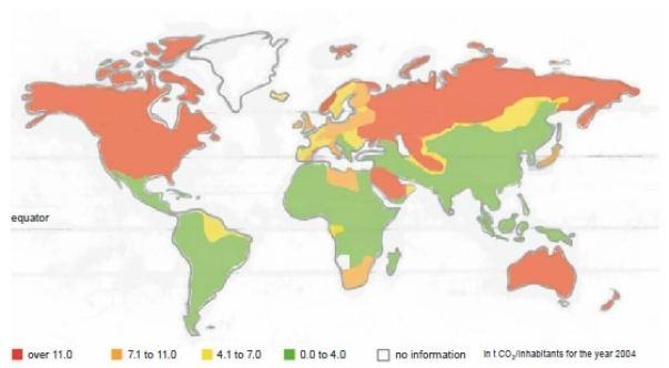 Rys.1. Poziomy dystrybucji emisji CO2 na osobę ludności świata , w roku 2004 [1]