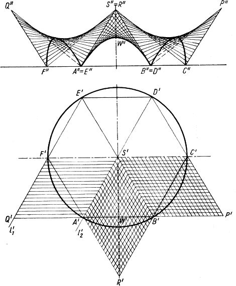 Przekrycie nad kołowym rzutem, złożone z sześciu jednakowych płatów podstawowych