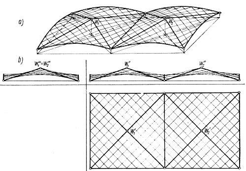 Przekrycie nad prostokątnym rzutem, złożone z ośmiu jednakowych płatów trójkątnych
