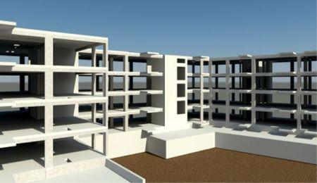 Model konstrukcji żelbetowego budynku Revit