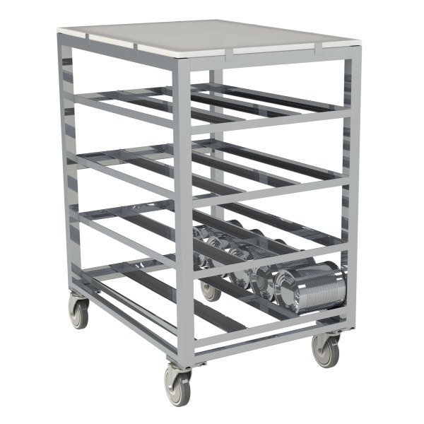 72 Can Capacity, Poly Top Can Rack