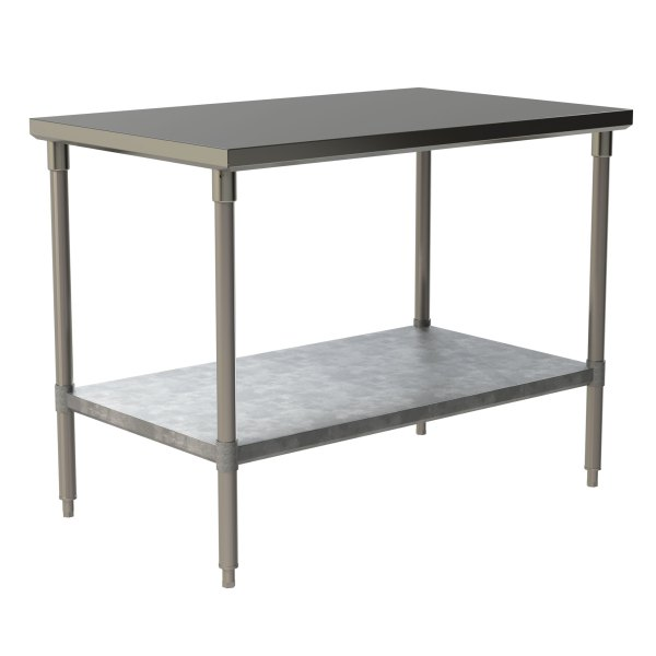 Standard Duty Work Table with Flat Top and Galvanized Under Shelf