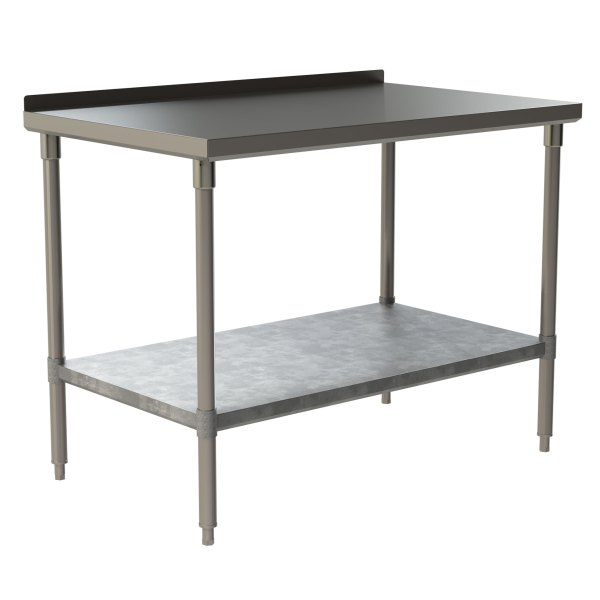 "Standard Duty Work Table with 1.5"" Backsplash and Galvanized Under Shelf"