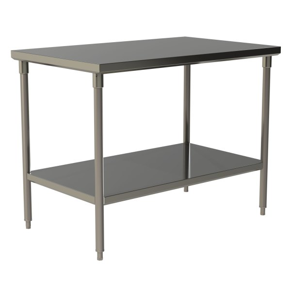 Standard Duty Flat Top Work Table with Stainless Steel Under Shelf