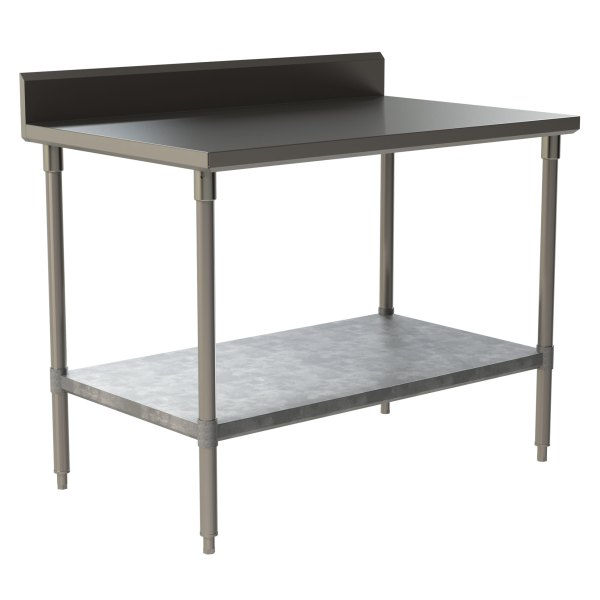 "Heavy Duty Work Table with 5"" Backsplash and Galvanized Under Shelf"