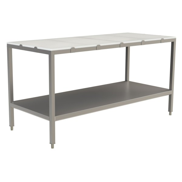 Poly Top Work Table, no Back Splash with Stainless Steel Under Shelf