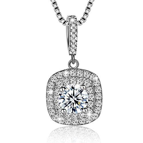 Collar Mujer Plata de Ley 925 Brillante Cristal Colgante Collares jo