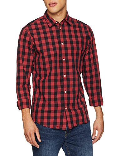 JACK & JONES Jjegingham Shirt L/s Camisa, (Brick Red Checks:Mixed Black), Small para Hombre    Precio: 15.45€        visita t.me/chollismo