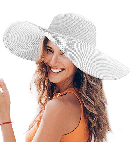 Dafunna Sombrero de Paja para Mujer de ala Ancha UPF 50+ Plegable Sombrero de Sol Color Sólido Playa Vacaciones (Blanco)    Precio: 13.99€        visita t.me/chollismo