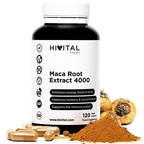Maca Peruana Extracto Concentrado 4000 mg | 120 cápsulas vegetales | Incrementa los niveles de energía, la vitalidad y el rendimiento atlético, y ayuda al sistema inmunológico y al equilibrio horm