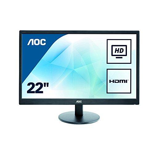AOC Monitores E2270SWHN – Monitor de 21.5″ (resolución 1920 x 1080 Pixels, tecnología WLED, Contraste 600:1, 5 ms, HDMI), Color Negro    Precio: 69.99€        visita t.me/chollismo