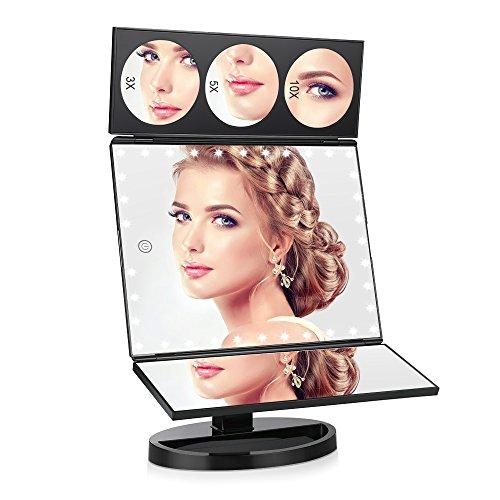 Espejo Maquillaje con Luz,Giratorio 360 °Espejo de Mesa con 35 LED Luces Pantalla Táctil Aumento 1x 3x 5x 10x, Carga con USB o Batería (Negro)    Precio: 14.99€        visita t.me/chollismo