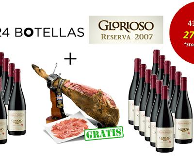 24 botellas de Rioja reserva con un jamón ibérico de regalo. Sólo 277,44 euros