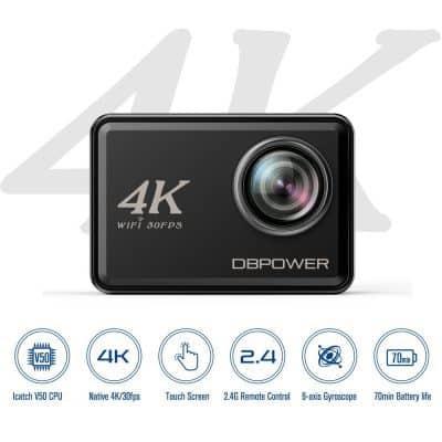 Oferta videocámara deportiva profesional DBPOWER 4K por 89 euros (Oferta FLASH)