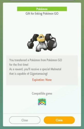 Reward notification for first PoGo to Home transfer