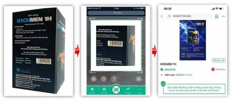 Sử dụng app icheck kiểm tra mã vạch bên ngoài hộp Kichman 1h