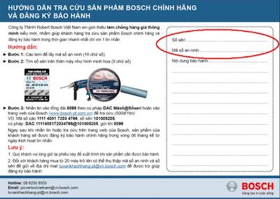 Phiếu bảo hành máy khoan Bosch