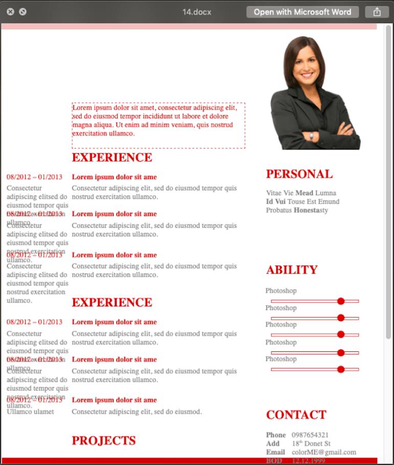 Mẫu CV xin việc ColorMe