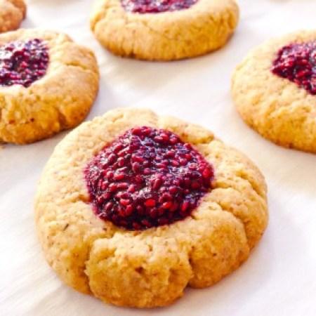 Vegan Thumbprint Cookies with Raspberry Chia Jam