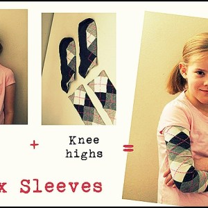 Make your own faux layered shirts from leg warmers or socks!