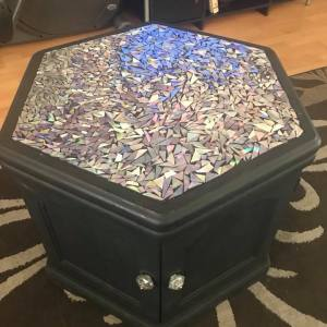 End Table Makeover with Broken CDs