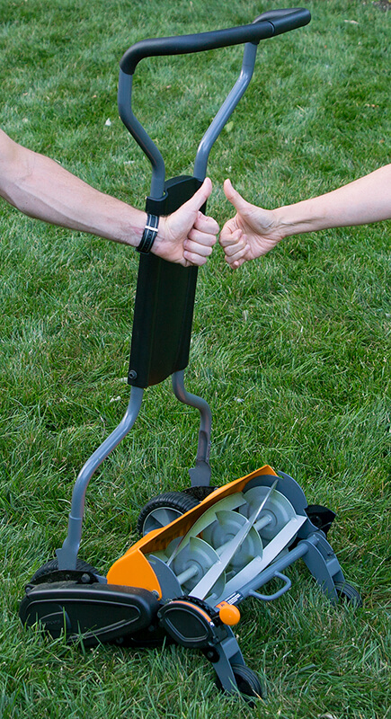An environmentally sound push mower with thumbs up.
