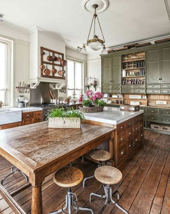country kitchen brown wooden floor classic chair green grass flower vase cabinet ceiling light