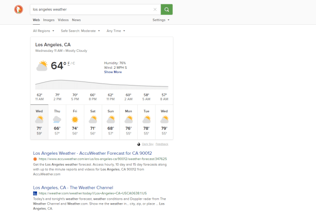 duckduckgo weather search